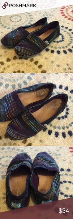 Super Cute Wool Toms Adorable wool Toms. Some wear on insole. See pic. Very comfortable. Toms Shoes