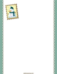 Printable snowman stationery and writing paper. Free PDF downloads at http://stationerytree.com/download/snowman-stationery/.
