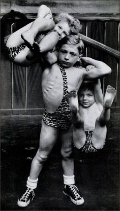 Strong Man, 1951 9 year old Paul Oudinot holds his brother and sister aloft on kids t.v. show, Grand Chance Round Up, Kids compete for a prize of a week's work at Hamid's Steel Pier at Atlantic City~♛