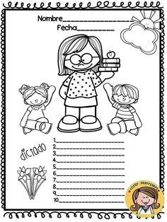 Plantillas para el dictado (20) English Activities, Class Activities, Spanish Worksheets, Kids English, Bilingual Education, Dual Language, School Decorations, Teaching Materials, School Days