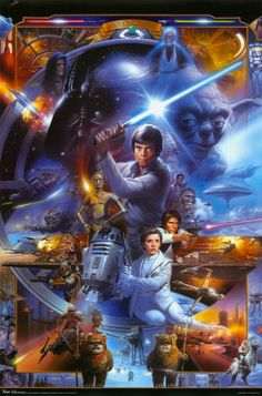 Blue Star Wars Poster - I have this one in my office!