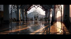 Throne Room, the lighting was just right. Fantasy Gowns, Fantasy City, Fantasy Story, Fantasy Art Landscapes, Fantasy Landscape, Anime Places, Nude Outfits, Realism Art, Semi Realism