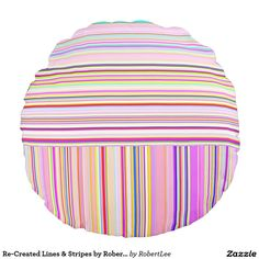 Re-Created Lines & Stripes by Robert S. Lee Round Pillow #Robert #S. #Lee #skateboard #board #decks #skater #design #colors #customizable #re-created