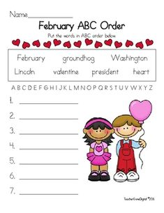 FREE - February ABC order - Easy