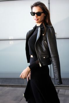 Casual Black Leather Jacket Black Crop Sweater Black Skirt