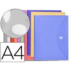 12 Sobres de polipropileno A4 con velcro colores surtidos