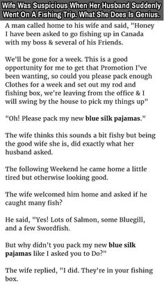 #Wife Was #Suspicious When Her #Husband Suddenly Went On A #FishingTrip. When She Does Is Genius.