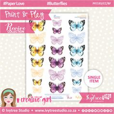 PP/193/CC/BF - Print&Play - CUTE CUTS - Butterflies - Revive Collection Cute Cuts, Printable Paper, Butterflies, The Creator, Paper Crafts, Symbols, Joy, Collections, Studio
