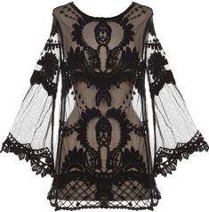 blackmetalnhate's save of Night Flight Top   Sheer Crochet Lace Kimono Tops   RicketyRack.com on Wanelo