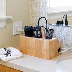Bamboo Countertop Hair Styling Center: Organizer For Bathroom