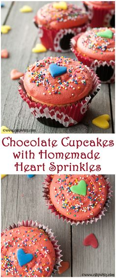 Adorable chocolate cupcakes with buttercream icing and homemade heart sprinkles! From cakewhiz.com