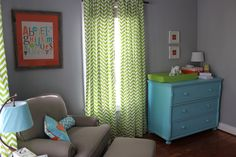 grey, teal blue, lime green, and bright orange modern nursery