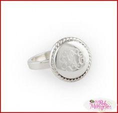 Braided Round Silver Monogrammed Ring