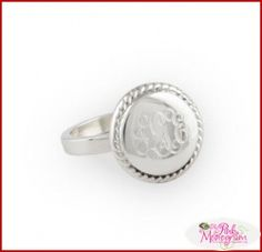 Braided Round Silver Monogrammed Ring