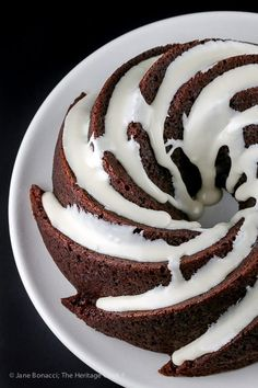 top down view of Deep Chocolate Zebra Cake (Gluten-Free) © 2018 Jane Bonacci, The Heritage Cook Gluten Free Cakes, Gluten Free Baking, Gluten Free Desserts, Gluten Free Recipes, Best Dessert Recipes, Delicious Desserts, Gluten Free Breakfasts, Melting Chocolate, Chocolate Desserts