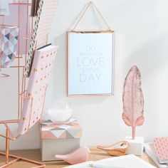 Metal mirror 13 x 18 cm DO WHAT YOU LOVE - Home Decorations, the most stylish decorations model Gold Bedroom, Dream Bedroom, Bedroom Decor, Rose Gold Rooms, Rose Gold Decor, Deco Pastel, Deco Rose, Home Design, Design Ideas