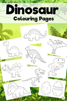 Dinosaur Coloring Pages for Kids Dinosaur Coloring Pages for Kids to color at school or at home. This dinosaur coloring book features 8 popular dinosaurs and a set of dinosaur eggs! Grab your dinosaur coloring pages for kids printables here! Dinosaurs Preschool, Dinosaur Activities, Printable Activities For Kids, Color Activities, Craft Activities, Dinosaur Dinosaur, Preschool Kindergarten, Dinosaurs For Kids, Dinosaur Art Projects