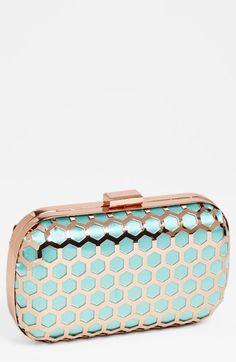 mint/rose gold box clutch