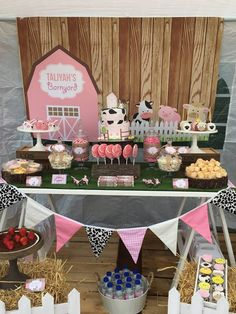 Pink Farmyard Party – Little Wish Parties Farm Animal Birthday, Cowgirl Birthday, Farm Birthday, Shared Birthday Parties, 2nd Birthday Party Themes, Birthday Ideas, Birthday Banners, Barnyard Party, Farm Party