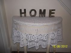 Vintage Hand Crochet White Circular Table by HeartsHandCrafts, £45.00