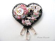 Felt Heart Pin / Crazy Quilt Style