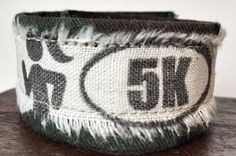 Army green camouflage bracelet made from donated #Army uniform with 5K #Runner print. Benefits military nonprofit by #ValorBands on #Etsy #MedalsofHonor