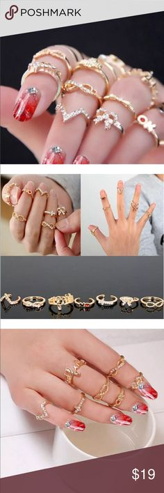 7 pc. Ring Set Brand New Boutique Quality Absolutely Stunning 7pc. Gold Plated for wear and shine longevity Ring Set. If you have any questions please don't hesitate to ask Jewelry Rings