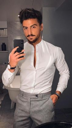 Mens Casual Dress Outfits, Formal Men Outfit, Smart Casual Outfit, Stylish Mens Outfits, Casual Shirts, Formal Wear, Fall Outfits, Mens Style Looks, Style Men