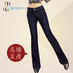 % Расклешенных джинсы женское приталенный завышенная талия джинсы женское брюки джинсы женское мм длинная