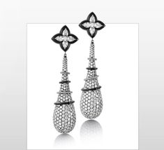 Titanium Earrings  Titanium Earrings in Pear Shape Diamonds and Round Diamond Pave along with Onyx.