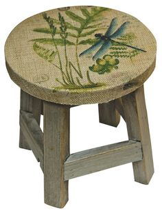 Dragonfly Stool Dragonfly Decor, Dragonfly Jewelry, Painted Chairs, Hand Painted Furniture, Butterfly Art, Butterflies, Monarch Butterfly, Decoupage, Wood Crafts
