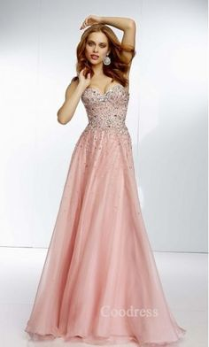 Fashion Floor Pink Sweetheart Sleeveless Prom Dress coodress13617