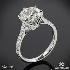"Gloriously detailed, the Vatche ""Swan"" French Pave Diamond Engagement Ring hits all the high notes"