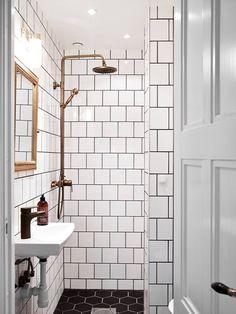 for a small guest bath: white square tiles, black grout, brass details Bathroom Renos, Basement Bathroom, Small Bathroom, Master Bathroom, Gold Bathroom, Bathroom Ideas, White Bathrooms, Bathroom Fixtures, Bathroom Designs