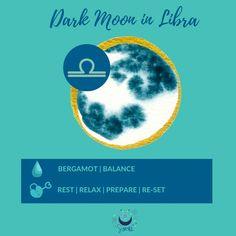 Dark Moon in Libra #libra #darkmoon #lunar #moon #astrology #moonmagick #lunarselfcare My Balance, Dark Moon, Moon Magic, Natural Energy, Libra, Astrology, Essential Oils, Mood, Health