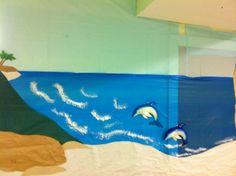 Promise Island VBS paper and plastic shoreline. Latex sponge painted waves.