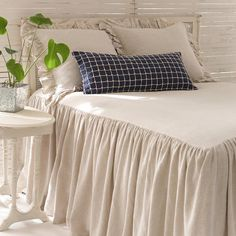 Pine Cone Hill | Wilton Natural Bedspread | An all-new cotton/linen take on one of our best-selling products. Bedspread has 30-inch, gathered drop.