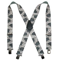 CTM® 2 Inch Wide Elastic Stars and Stripes Clip-End Suspenders in Grey Scale. X-back style $13.95