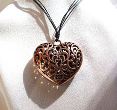 Large Copper Filigree Open Heart Pendant by CreationsByJanetUSA, $21.00