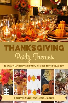 An easy and creative way to bring a little more spice and style to your turkey day festivities is by choosing a Thanksgiving theme. From the décor to the dessert menu to the invitations, a party theme lets you plan memorable festivities that your guests will enjoy. Thanksgiving party themes add that extra touch of thoughtfulness and excitement to an otherwise ordinary holiday dinner. #partyideas #thanksgivingparty #thanksgiving #partythemes