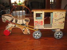 1950'S Vintage Bordens Milk Wagon And Horse Wood Tin