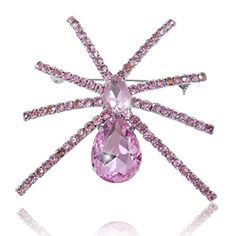 EVER FAITH Silver-Tone Pink Austrian Crystal Teardrop Belly Spider Brooch  http://www.amazon.com/dp/B00I1S6Z4S/ref=cm_sw_r_pi_dp_bgkUvb0CNR15S