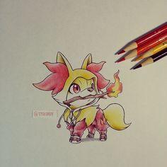 Adorable! Drawn by itsbirdy ... fennekin, pokemon