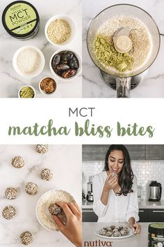 Enjoy the health benefits of matcha and MCTs with these Matcha Bliss Bites! They& easy-to-make, delicious, power-packed balls of goodness. Matcha Benefits, Health Benefits, Green Tea Recipes, Crockpot, Food Garnishes, Healthy Desserts, No Cook Meals, Love Food, Snack Recipes