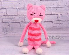 Lovely amigurumi crochet Cat Amineko perfect soft cuddly toy for your child. Made by hand with love.  Pink Cat Amineko will be a wonderful gift for the little girl.  - Color: as the photo. - Size: about 10 inches (26 cm) - Material: High quality acrylic and wool yarn 100% Polyester  Amigurumi plush Cat Amineko is ready to ship.  But if you have the desire to buy a Cat Amineko with a different color, I am always in touch and open to your suggestions. Deadline 2-3 days from the date of order…