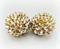 Vintage Button Earrings, Silver Sequin Earrings, Gold Seed Bead Earrings, Clip-on Earrings, 1980s Retro Modern Disco Jewelry by RedGarnetVintage, $8.00