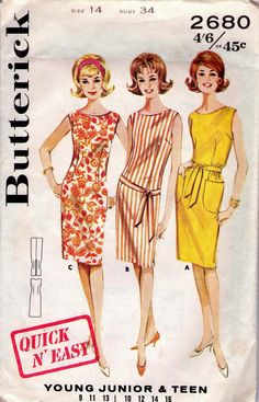 60s Vintage Sewing Pattern Butterick 2680 Mad Men Dress