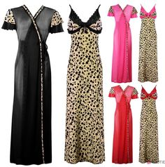 NEW LADIES BLACK LONG NIGHTDRESS WOMENS NIGHTIE LOUNGER DOTTED PRINT 8-14 in Clothes, Shoes & Accessories, Women's Clothing, Lingerie & Nightwear   eBay