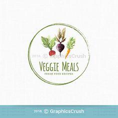 Food Logo Veggie Logo Vegan Logo by GraphicsCrush on Etsy