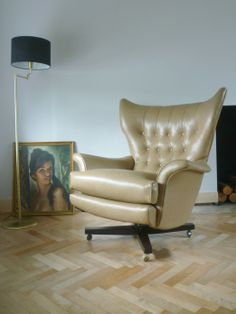 Vintage G Plan 6250 Swivel Chair restored and reupholstered in a parchment colour leather.